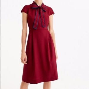 J.Crew Italian Wool Crepe Tie-Neck Dress
